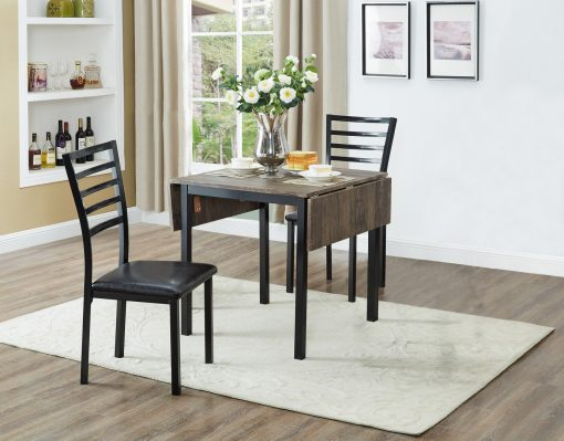 3Pc Wooden Table With Drop Leaves Closed