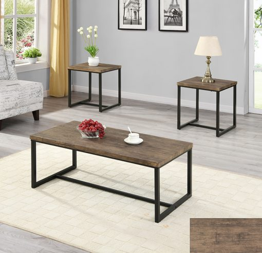3pc distressed wooden top coffee table set