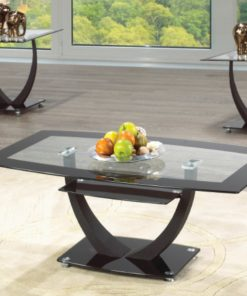 Image depicts the The 3-Piece Modern Glass Coffee Table Set, which comes with one coffee table and two end tables.