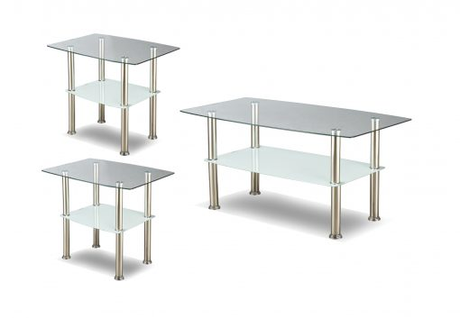 Image depicts the The 3-Piece Rectangular Glass Coffee Set, which comes with one coffee table and two end tables.