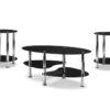 3pc round black glass coffee table set