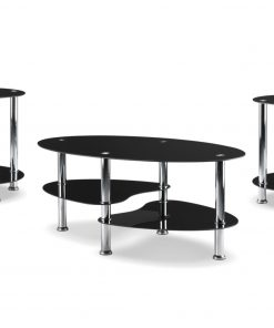 3pc round black glass coffee table set