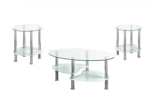 3 pc round clear coffee table set