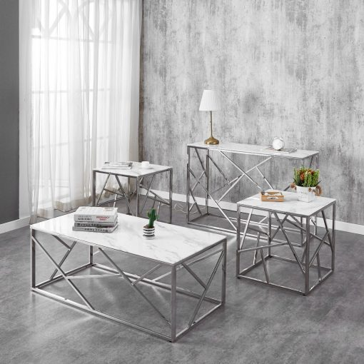 3pc white marble glass coffee table set