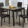 5 Pc Dark Brown Marble Table Dining Set