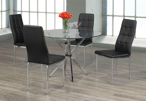 5 pcs tempered clear glass dining set