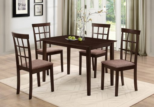 Image depicts The 5-Piece Brown Dining Set (Fabric Seats) which is a classy Espresso wood dining table with fabric cushion chairs with espresso legs.