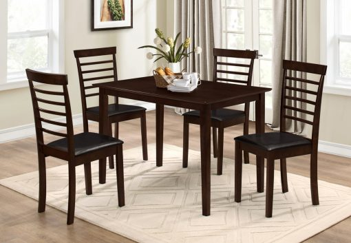 Image depicts the 5-Piece Brown Dining Set which comes with a classy wood dining table and black cushioned chairs.