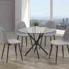 The 5-Piece Dining Set Glass Table And Grey Fabric Seats has a minimalist style and is perfect for small kitchens.