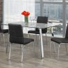 Image depicts the 5-Piece Modern Glass Rectangular Dining Set which comes with a tempered glass table with black faux leather cushioned seats.