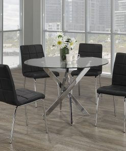 Image depicts The 5-Piece Modern Glass Round Dining Set which comes with a circular tempered glass table with four cushion seats.