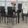 Image depicts a 7-Piece Dining Set which comes with a clear glass table and black cushioned seats made with faux leather.