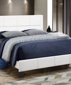 Affordable Stylish PU Platform Bed White