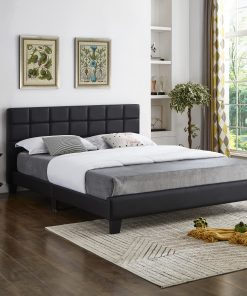 Bahati Square Pattern Headboard Platform Bed Grey Fabric.jpg