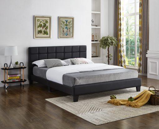 Bahati Square Pattern Headboard Platform Bed Grey Fabric.jpg