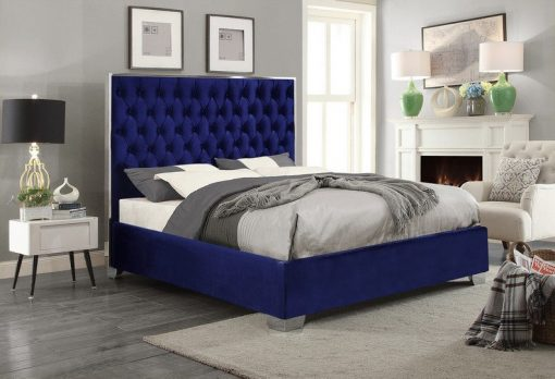 Berlin Luxury Velvet Platform Bed Blue
