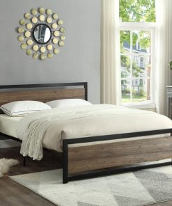 Image depicts the Classic Wood Panel Platform Bed which is a beautiful modern bed with a rustic touch. It comes as a Double or Queen size bed