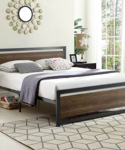 Classic Wood Panel Platform Bed Grey