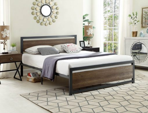 Classic Wood Panel Platform Bed Grey