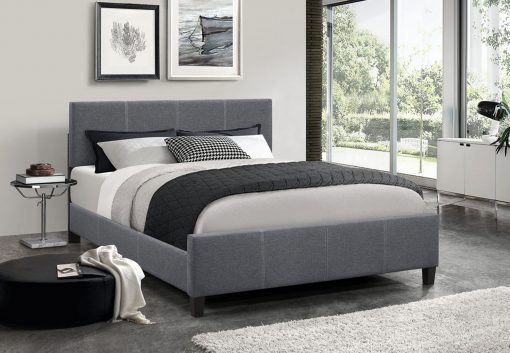Classico Fabric Platform Bed Dark Grey Colour