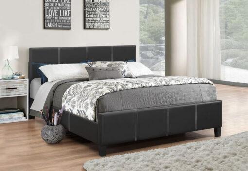 Classico Leather Platform Bed Black