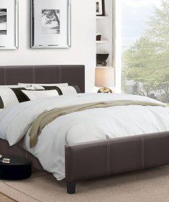Classico Leather Platform Bed Espresso