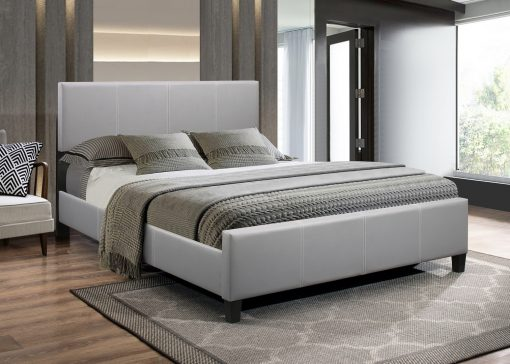 Classico Leather Platform Bed Grey