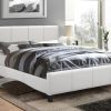 Classico Leather Platform Bed Colour White