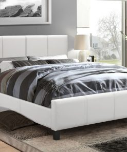 Classico Leather Platform Bed Colour White
