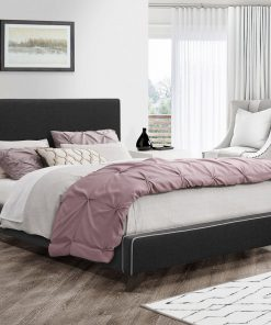Image depicts The Dani's Charcoal Fabric Platform Bed which comes in different sizes, including double, King, and Queen.