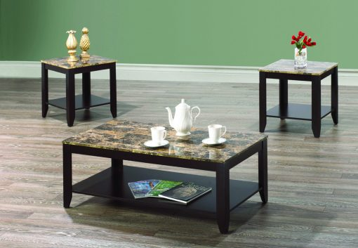 Marble Coffee Table Set in Light Brown