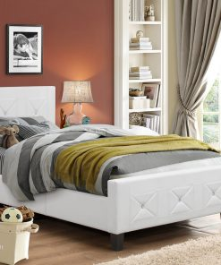 Jewels Classic Platform Bed White Colour