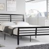 Image depicts the Kari's Black Metal Platform Bed which is a simple but modern black metal framed bed that comes in Double and Queen size.