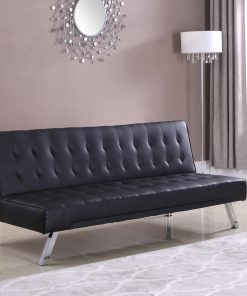 Leather Klik Klak Futon Sofa Black