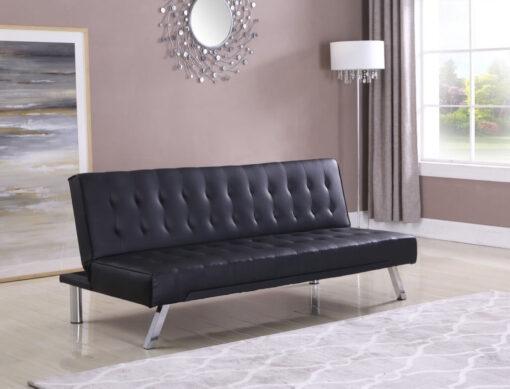 Leather Klik Klak Futon Sofa Black