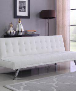 Leather Klik Klak Futon Sofa White Colour