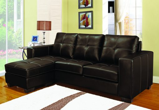 Image depicts a brown Leather Sectional Sofa from Dani's Furniture