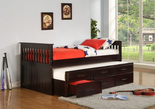 Lulu Captain Bed with Trundle Espresso