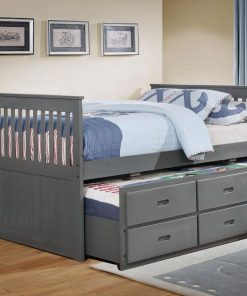 Lulu Captain Bed with Trundle Grey