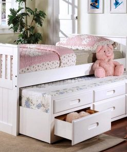 Lulu Captain Bed with Trundle in White Color