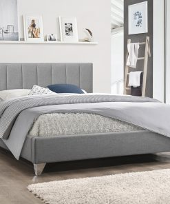 Image depicts the Moncton Modern Platform Bed which is a luxurious Queen-size bed with grey-tufted upholstered fabric headboard and chrome legs.