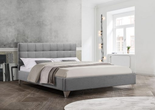 Image depicts the Moncton Modern Platform Bed which comes with a square-designed headboard and comes in either Queen or double sizes.