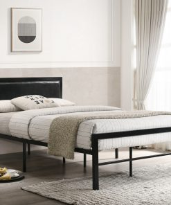 Padded Headboard Metal Platform Bed Black Colour