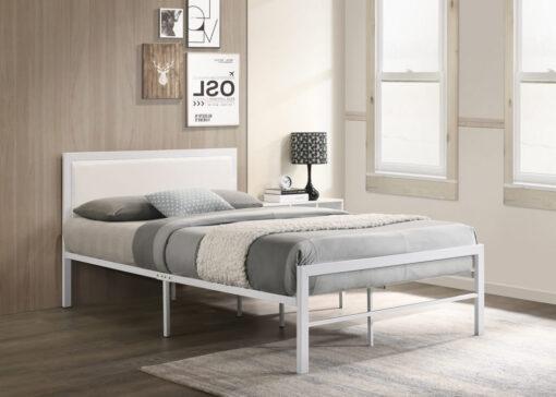 Padded-Headboard-Metal-Platform-Bed-White