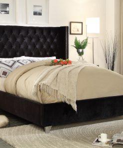 Paris Luxury Velvet Platform Bed Black