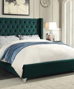 Paris Luxury Velvet Platform Bed Green