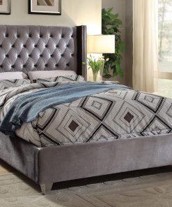Paris Luxury Velvet Platform Bed Grey