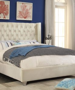 Paris Luxury Velvet Platform Bed White