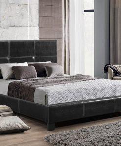 Primero PU King Platform Bed Black