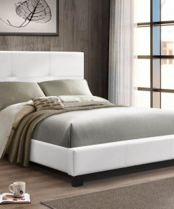 Primero PU King Platform Bed White